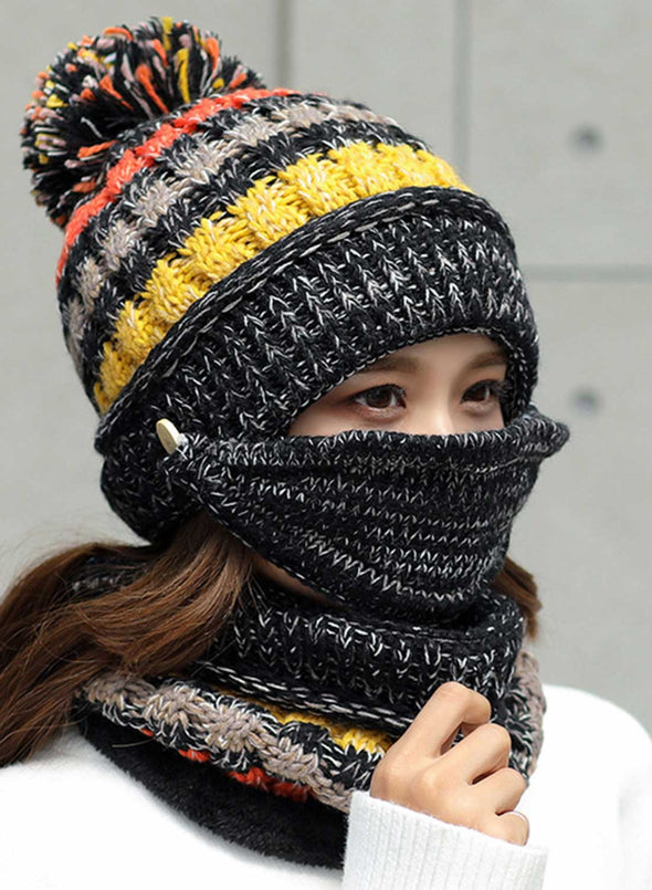 Black Women's Hats Knitted Hat Scarf Mask Color Block Cotton Three-piece Set LC02341-2