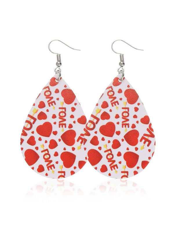 Red Women's Earrings Color Block Heart-shaped Earrings LC011245-303