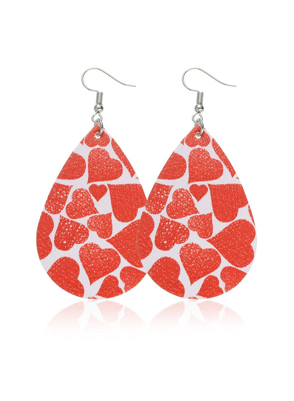 Red Women's Earrings Color Block Heart-shaped Earrings LC011245-203