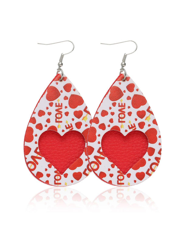 Red Women's Earrings Color Block Heart-shaped Earrings LC011245-103