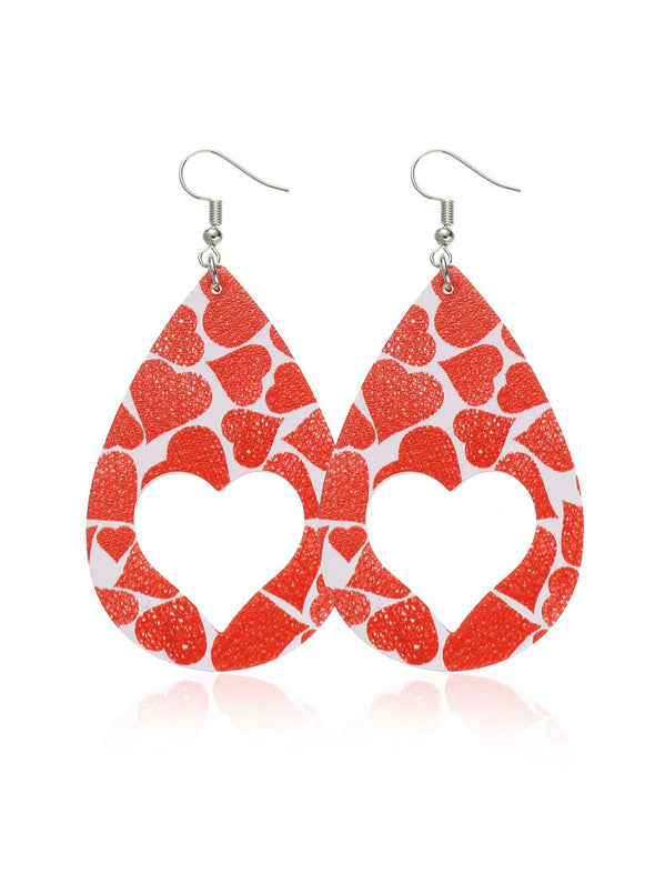 Red Women's Earrings Color Block Heart-shaped Earrings LC011245-3