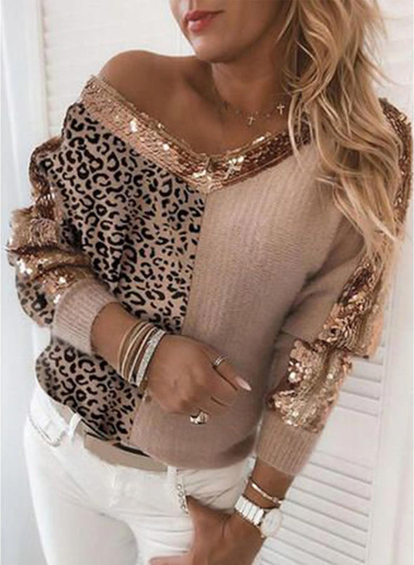 Khaki Women's Sweaters V Neck Long Sleeve Leopard Sequin Casual Sweaters LC2721054-16