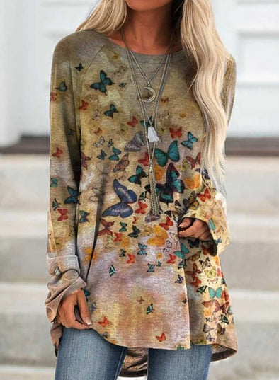Multicolor Women's Tunic Tops Butterfly Print Color Block Casual Round Neck Long Sleeve Daily Tunics LC2515654-22
