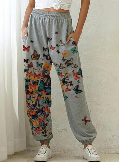 Gray Women's Joggers Butterfly Straight Mid Waist Daily Full Length Casual Basic Joggers LC771378-11