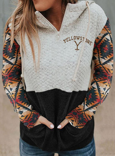 White Women's Yellowstone Western Print Hood Collar Colorblock Pocket Sweatshirt LC2533021-1