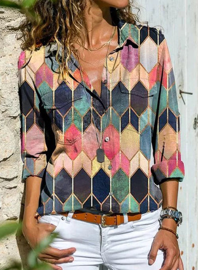 Multicolor Women's Shirts Turn Down Collar Color Block Long Sleeve Daily Casual Shirts LC255743-22