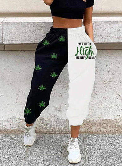Black Women's Joggers Color Block Letter Straight High Waist Full Length Casual Joggers LC771449-2