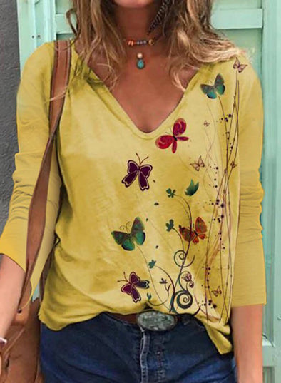Yellow Women's Pullovers Floral Butterfly Print Long Sleeve V Neck Pullover LC2516014-7