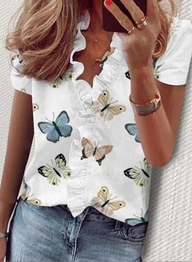 White Women's Blouses Butterfly Short Sleeve V Neck Daily Ruffle Blouse LC2516021-1