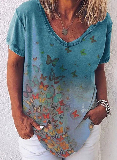 Blue Women's T-shirts Butterfly Print Short Sleeve V Neck Casual T-shirt LC2523142-5