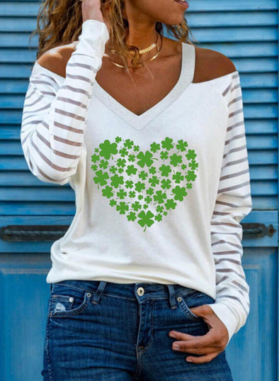 White Women's Pullovers Letter Saint Patrick's Day Long Sleeve V Neck Cold Shoulder Casual Pullover LC2516079-1