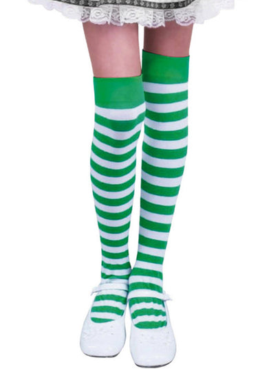 Green Women's Stockings Striped Holiday Cute Warm Saint Patrick's Day Stockings LC09392-9