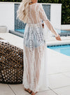 White Women's Tunic Tops Summer Lace Solid V Neck Long Sleeves Open Front Vacation Beach Tunic Tops LC254424-1