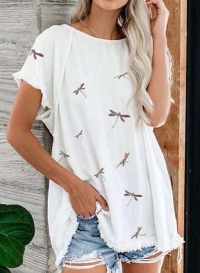 White Women's Tunic Tops Casual Dragonfly Solid Round Neck Short Sleeve Daily T-shirts LC2516235-1