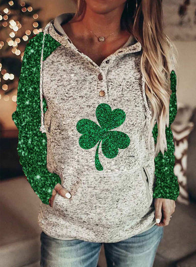 Green Women's Hoodies Saint Patrick's Day Pocket Sequin Long Sleeve Daily Hoodie LC2537279-9