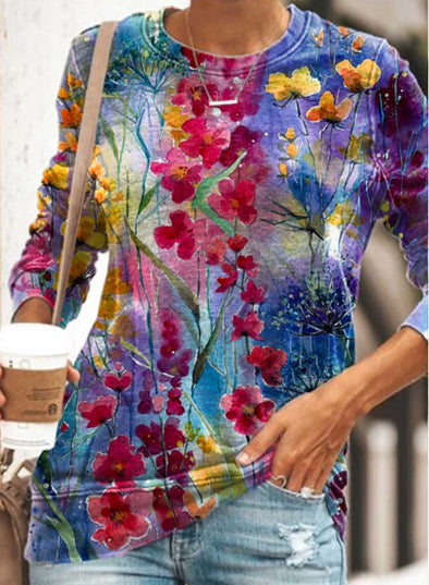 Multicolor Women's Sweatshirts Floral Abstract Long Sleeve Round Neck Casual Sweatshirt LC2537284-22