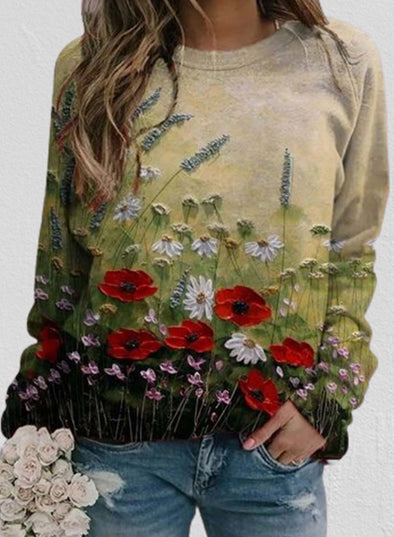 Multicolor Women's Pullovers Floral Fruits & Plants Long Sleeve Round Neck Casual Pullovers LC2537288-22