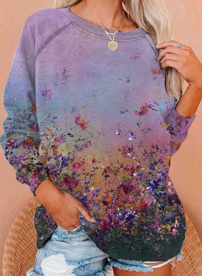 Purple Women's Pullovers Floral Long Sleeve Round Neck Casual Pullovers LC2537292-8