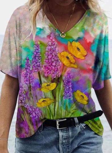 Multicolor Women's T-shirts Floral Abstract Short Sleeve V Neck Summer Casual T-shirts LC2523597-22