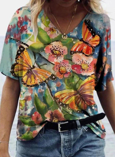 Multicolor Women's T-shirts Floral Butterfly Abstract Short Sleeve V Neck Summer Casual T-shirts LC2523599-22
