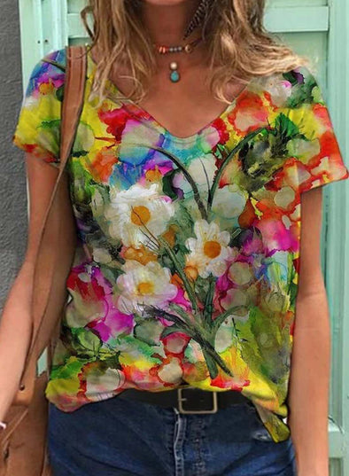 Multicolor Women's T-shirts Floral Abstract Short Sleeve V Neck Summer Casual T-shirts LC2523601-22