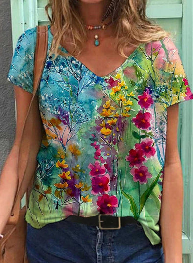 Multicolor Women's T-shirts Floral Print Short Sleeve V Neck Daily T-shirt LC2523604-22