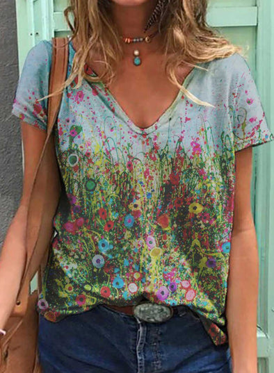 Gray Women's T-shirts Floral Print Short Sleeve V Neck Daily T-shirt LC2523612-11
