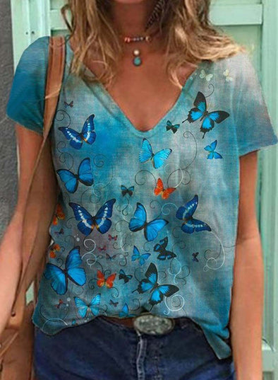 Sky Blue Women's T-shirts Floral Butterfly Print Short Sleeve V Neck Daily T-shirt LC2523614-4