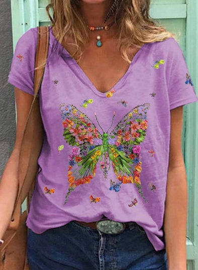 Purple Women's T-shirts Floral Butterfly Print Short Sleeve V Neck Daily T-shirt LC2523615-8