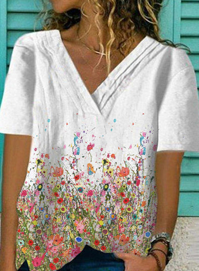 White Women's T-shirts Floral Print Short Sleeve V Neck Daily T-shirt LC255815-1