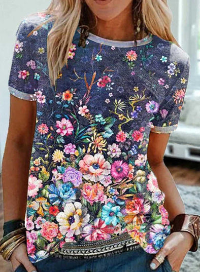 Blue Women's T-shirts Floral Color Block Print Short Sleeve Round Neck Daily T-shirt LC2523608-5