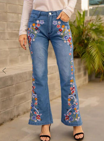 Sky Blue Women's Jeans Flare Floral Mid Waist Embroidery Full Length Casual Jeans LC781468-4