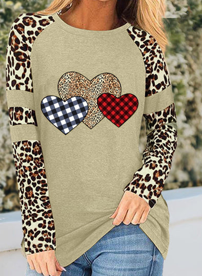 Khaki Women's T-shirts Leopard Heart-shaped Print Color Block Long Sleeve Round Neck T-shirt LC2515031-16