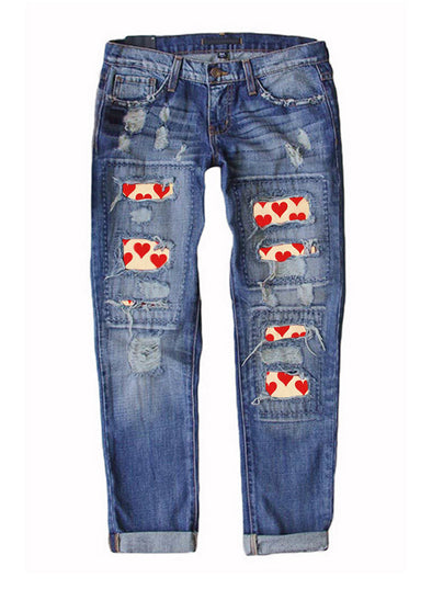 Blue Women's Jeans Heart-shaped Color Block Straight Mid Waist Daily Full Length Casual Pocket Ripped Jeans LC781349-5