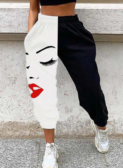 Black Women's Joggers Portrait Color Block Straight High Waist Full Length Casual Sporty Joggers LC771574-2