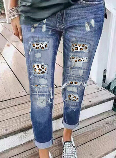 Sky Blue Women's Jeans Straight Leopard Low Rise Jeans LC78976-4