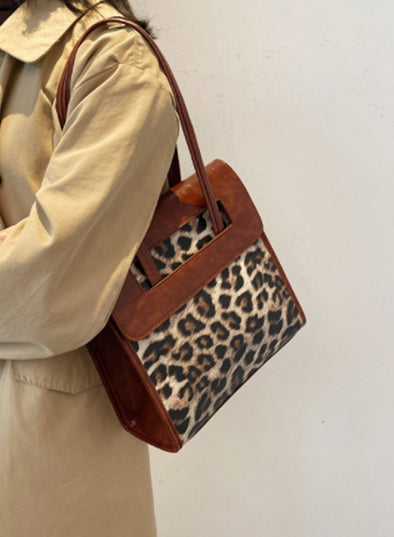Brown Women's Messenger Bags Leopard Jacquard-cloth Casual Shoulder Messenger Bag LC003642-17