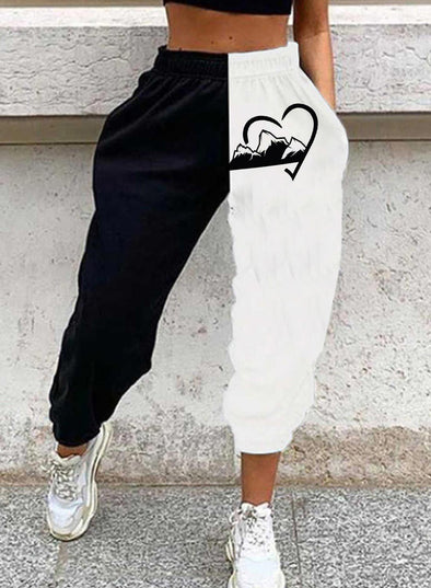 Black Women's Joggers Color Block Heart-shaped Mid Waist Pocket Jogger LC771577-2