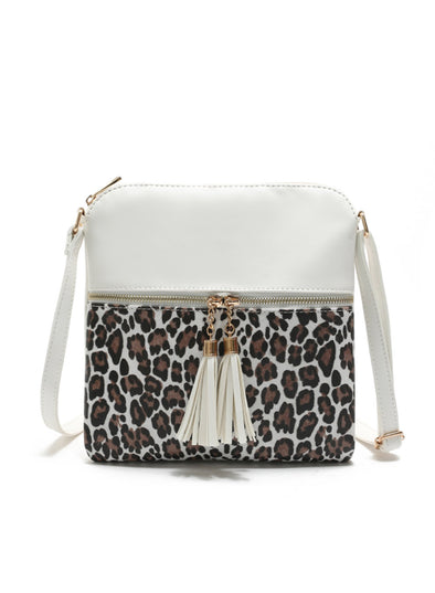 White Women's Messenger Bags Leopard Color Block Daily Shoulder Messenger Bag LC003651-1