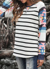 White Colorful Striped Waffle Top LC2512927-1