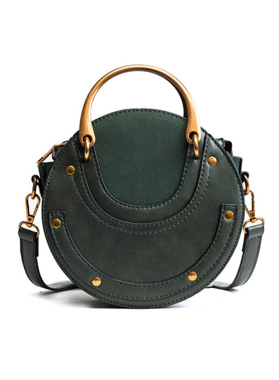 Green Women's Messenger Bags Solid PU Leather Round Bags LC003721-9