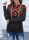 Black Geometric Long Sleeve Regular Hoodie LC2532208-2
