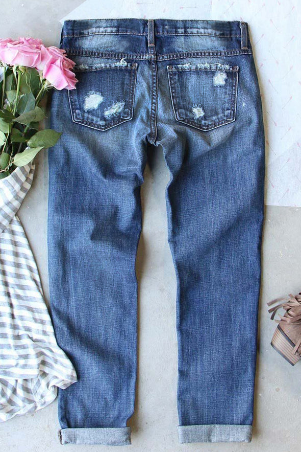 Sky Blue Women's Jeans Solid Mid Waist Straight Ankle-length Cut-out Casual Jeans LC781320-4