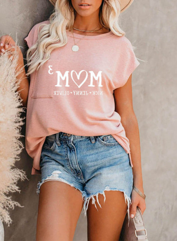 Pink Women's T-shirts Solid Letter Round Neck Short Sleeve Pocket Casual Daily Summer T-shirts LC2524220-10
