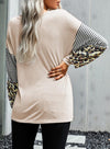 Apricot Women's Tunic Tops Color Block Leopard Letter Round Neck Long Sleeve Casual Daily Tunics LC2516912-18