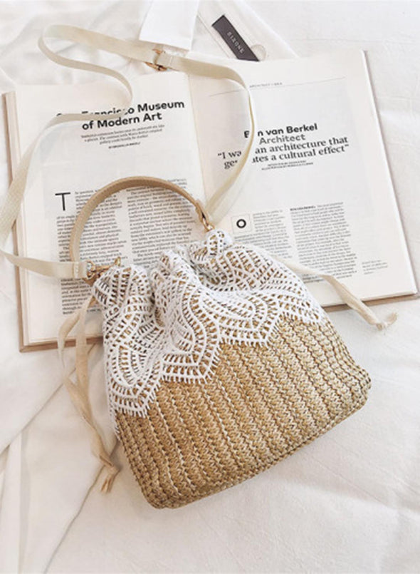 Khaki Women's Handbags Solid Lace Floral Woven Straw Handbags LC003703-16