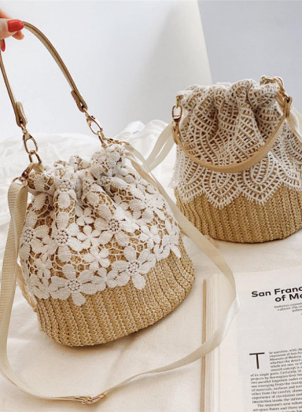 Khaki Women's Handbags Solid Lace Floral Woven Straw Handbags LC003703-1016