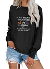 Black Women's Pullovers Letter Solid Round Neck Long Sleeve Casual Basic Pullovers LC2516910-2