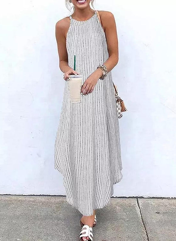White Women's Dress Striped A-line Sleeveless Cold Shoulder Round Neck Casual Daily Vacation Maxi Dress LC614061-1