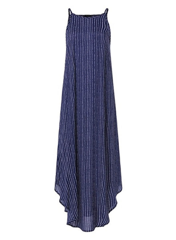 Blue Women's Dress Striped A-line Sleeveless Cold Shoulder Round Neck Casual Daily Vacation Maxi Dress LC614061-5